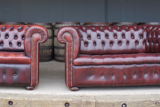 A La Crate Leather Chesterfield Sofas