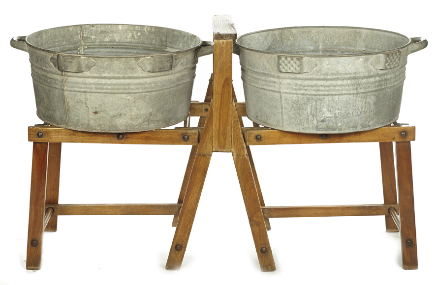 Wash Basin Wood Stand with Galvanized Tubs A La Crate Vintage Rentals