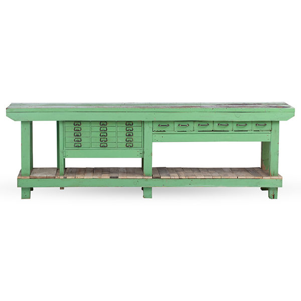 ALaCrate-Vintage-Rentals-Green-Bar-Workbench-Wedding-Corporate-Statement-Wood-Drawers-Metal