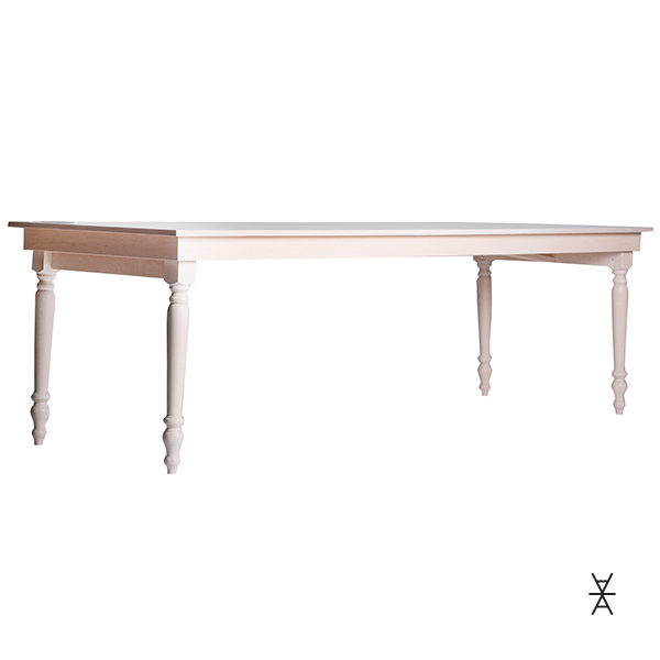 ALaCrate Wood Folding Table Rentals Spindle Legs White