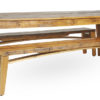 Hand built wood harvest table rentals made in Wisconsin paired with wood folding benches