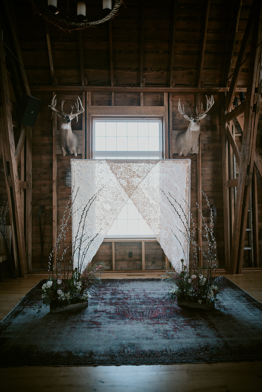 ALaCrateRentals-Natural-Intuition-Phography-322-Lace Wedding-Ceremony-Backdrop Wisconsin Indoor Wedding Rentals | A LA CRATE Vintage Rentals