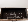 ALaCrate-Vintage-Rentals-White-Enamel-Table-Accent-Display-Weddings Chalkboard drawer