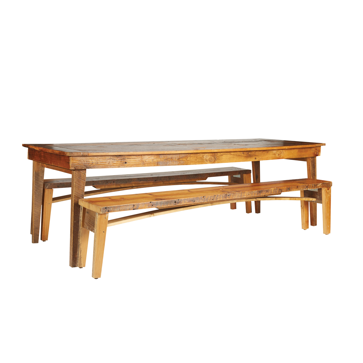 Wood folding table and bench rentals