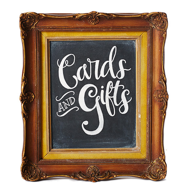 A La Crate Rentals Prewritten Cards + Gifts Chalkboard for Weddings