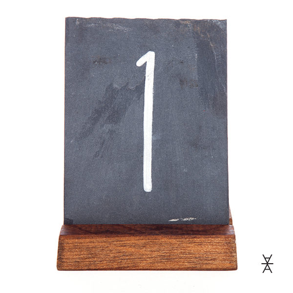 ALaCrate-Rentals-Chalkboard-Table-Number-RENTALS-Slate-Wood-Base-1-Weddings Centerpiece Rentals WI