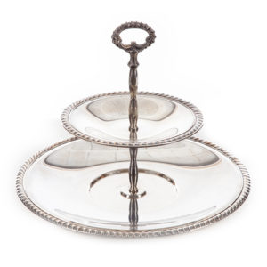 ALaCrate-Rentals-Silver-2-Tier-Tray-TopDown-Vintage-Dessert-Display-Serving-Wedding