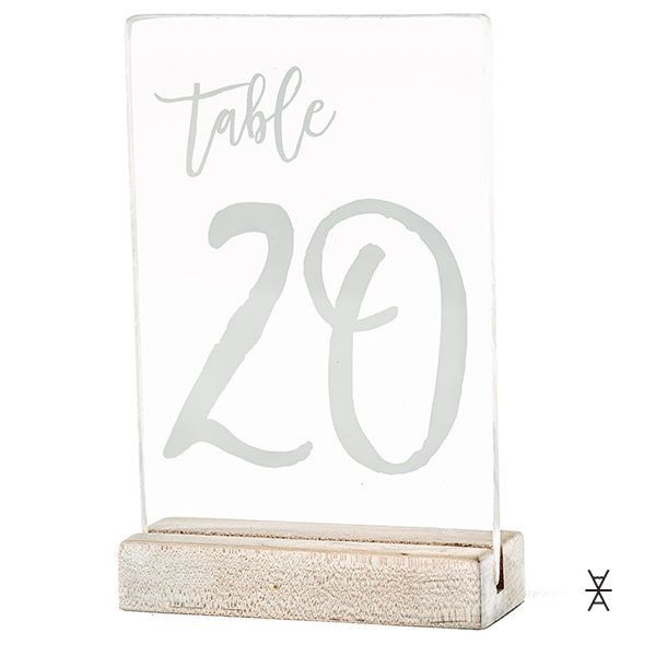 ALaCrate-Rentals-Modern-Table-Number-Rentals-Plexi-Acrylic-Wood-WhiteWash-Base-Weddings Centerpiece Rentals Wisconsin