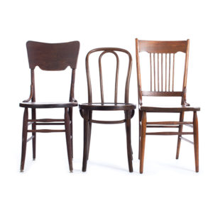 Mismatched wood chair rentals. Madison, Wisconsin + 250 mile radius (includes Milwaukee and IL).