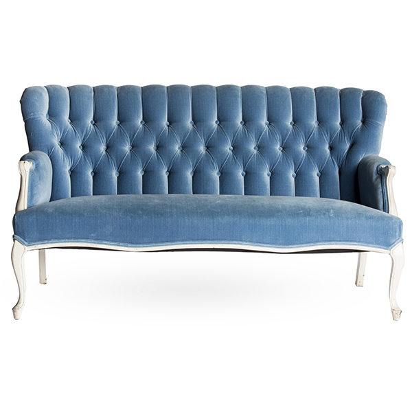 ALaCrate Rentals Vintage Sofa BlueVelvetSettee Wedding Lounge Furniture