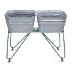 ALaCrate-Rentals-Vintage-WashBasin-Double-Galvanized-GreenLegs-Beverage-Station-Wedding-Event
