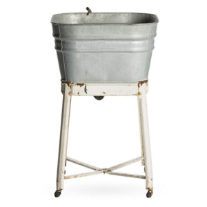 ALaCrate-Rentals-Vintage-WashBasin-Galvanized-Single-White-Leg-Beverage-Station-Wedding-Event