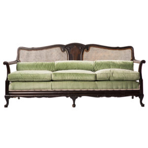 ALaCrate-Vintage-Rentals-Sofa-MintGreen-Velvet-Dark-Wood-Furniture-Lounge-Wedding-Event