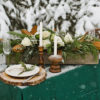 Sweetheart table featuring concrete planter centerpiece.