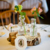 Clear cream top glass used as wedding reception centerpiece.