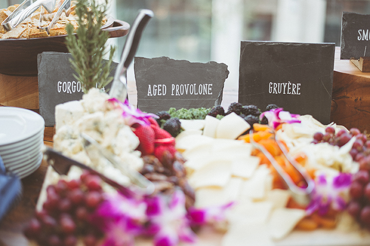 ALaCrateRentals-paper-antler-0003-Small-Slate-Slab-Wood-Base-Appetizers at Wedding at Overture Center in Madison, Wisconsin Wisconsin Indoor Wedding Rentals | A LA CRATE Vintage Rentals