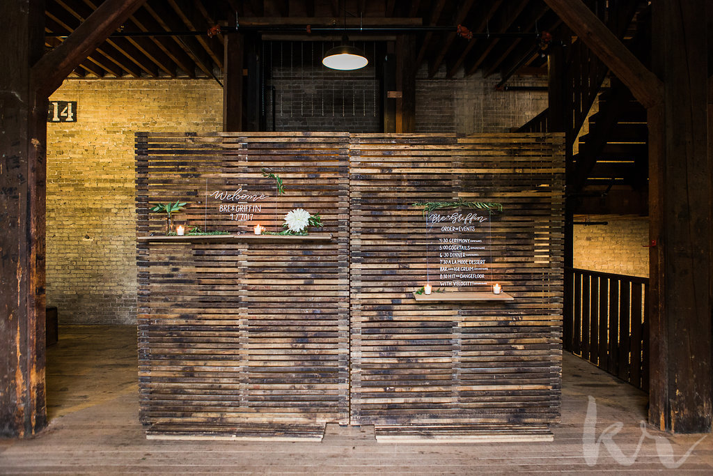 ALaCrateRentals-Katie-Ricard-Photgraphy-259-Slatted-Wall-Backdrop-Entrance ALaCrateRentals-TimFitch-Alexis-Mike-Wedding-361-Wood-Arbor-The-Lageret - Vintage Industrial Rentals