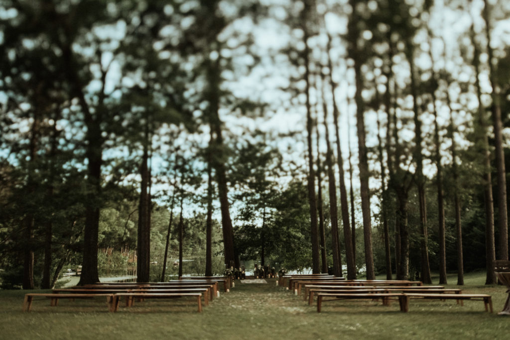 Outdoor Wedding Ceremony. Northern Wisconsin. Central Wisconsin. Rows of benches. Bench Rental Madison, Wisconsin
