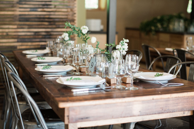 Harvest table rentals from A La Crate used in the new Lind Pavilion, Mineral Point, WI.