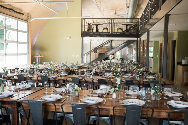 Industrial modern decor rentals from Event Essentials and A La Crate Rentals in the quonset hut, Mineral Point, WI.