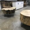 Hairpin stump coffee table for rent. Madison, Wisconsin. Locally made event rentals!