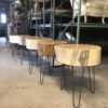 Hairpin stump side tables for rent. Madison, Wisconsin. Locally made event rentals!
