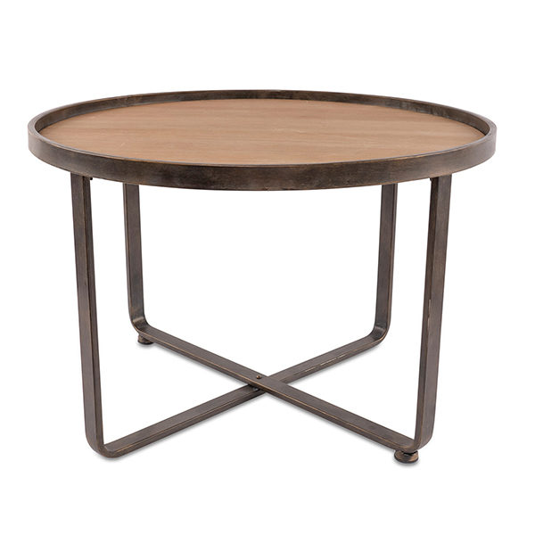 Round Metal and Wood Coffee Table Modern Rental A La Crate Vintage Rentals Madison WI | Gunmetal | Dark Grey and Light to Mid Wood Tones
