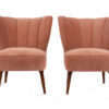 Fluted petite pink velvet chair for rental Madison WI