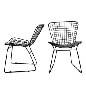 Black MCM Wire Vintage Inspired Metal Chair Rental Madison Wisconsin A La Crate Rentals Event Rentals WI