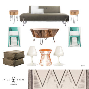 A LA CRATE RENTALS, Madison WI | Modern Boutique Rentals | Vintage Rentals Wisconsin | MCM Rentals | Mid Century Modern | Army Tent Sofa