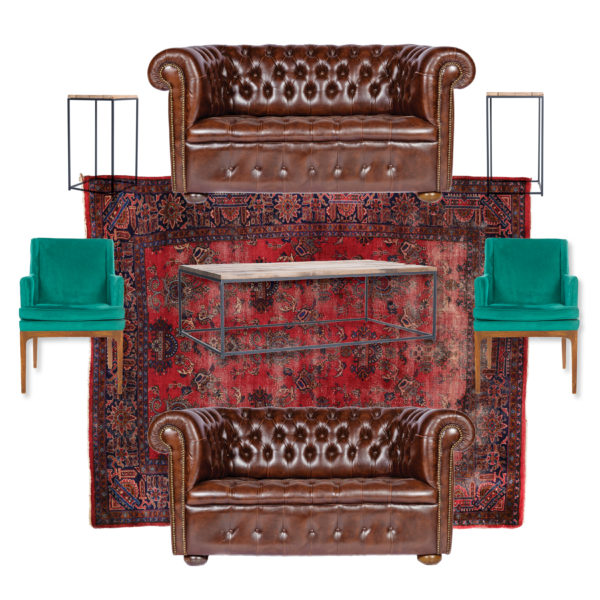 Heritage A La Crate Rentals Soft Seating Lounge Area Rental Madison WI Leather Chesterfield and velvet vintage side chairs