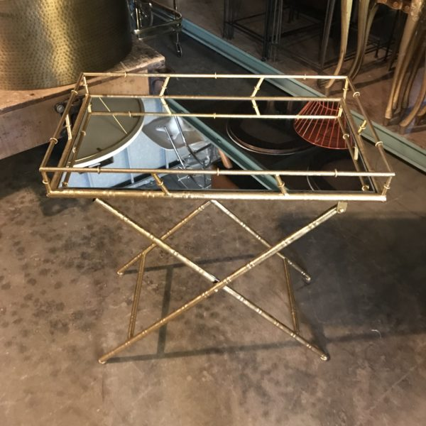 Gold Mirror Tray Folding Accent Table A La Crate Furniture Event Rentals Lounge Designs Madison WI