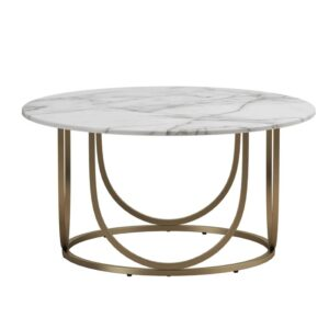 White and gold geometric coffee table