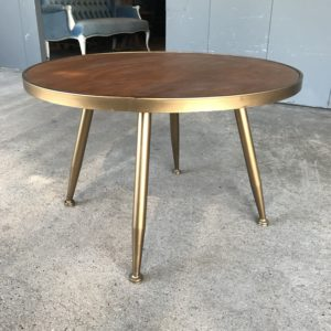 Toffee Brass Round Coffee Table Rentals Madison WI A La Crate Rentals