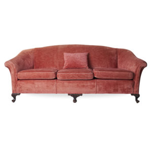 Vintage rose velvet sofa rental
