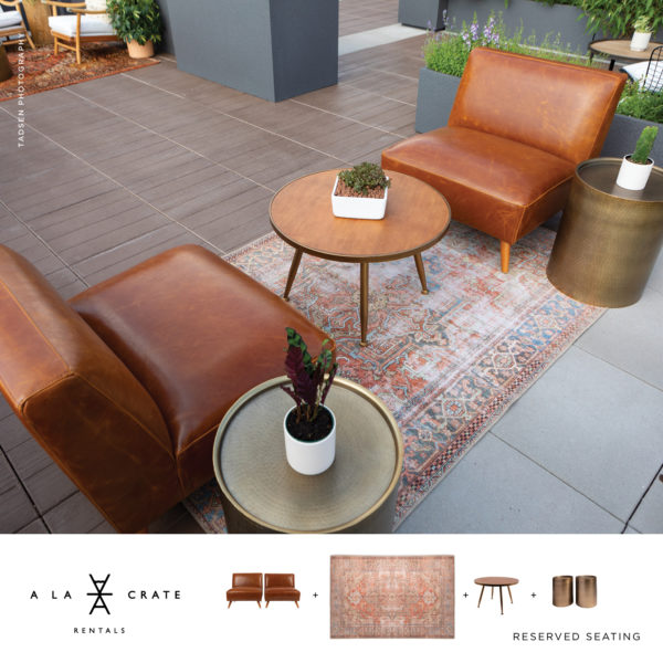 Introverts rejoice! Leather Soft Seating Outdoor Furniture Rentals Sun Prairie Wi The Loft at 132 Rooftop | Visit Madison