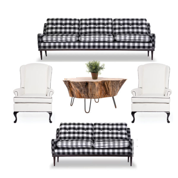 Up North Lounge Area Madison Wisconsin A La Crate Rentals Vintage Rentals Modern Design Black and White Buffalo Check Sofa and loveseat