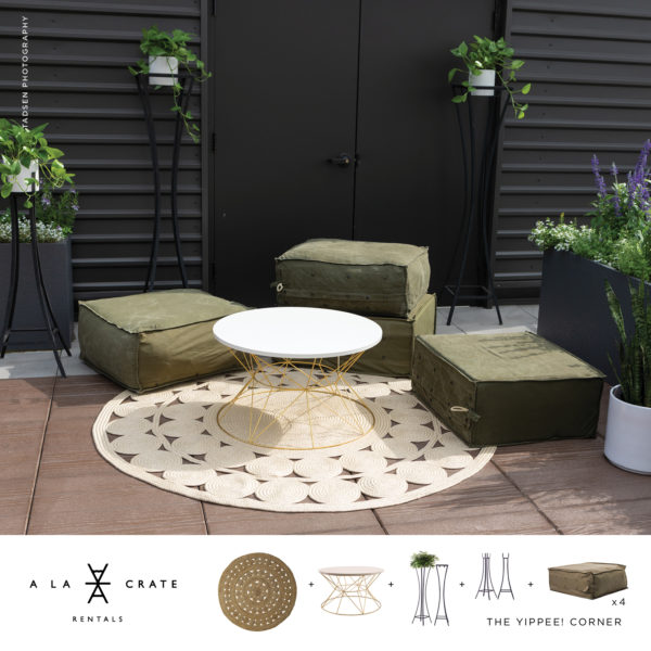 The Yippee Corner Curated Collection from A La Crate Rentals | Modern + Vintage Rentals for your Current Event Needs | Outdoor Lounge Seating | Eclectic Event Rentals