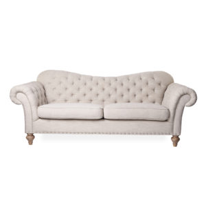 Neutral chesterfield sofa for rental, events, home showing, galas