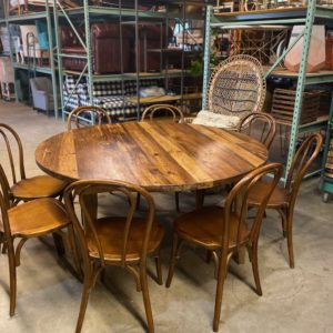 Circle wood table rental