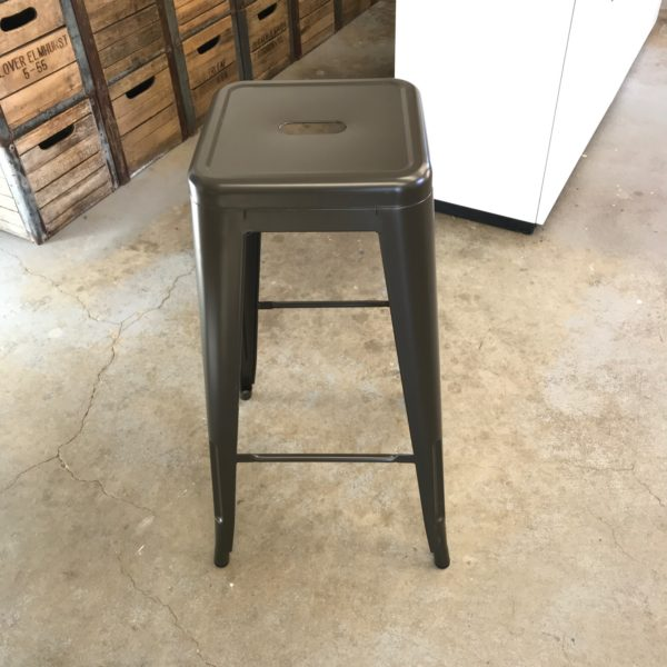 Stacking gunmetal stool for cocktail table seating