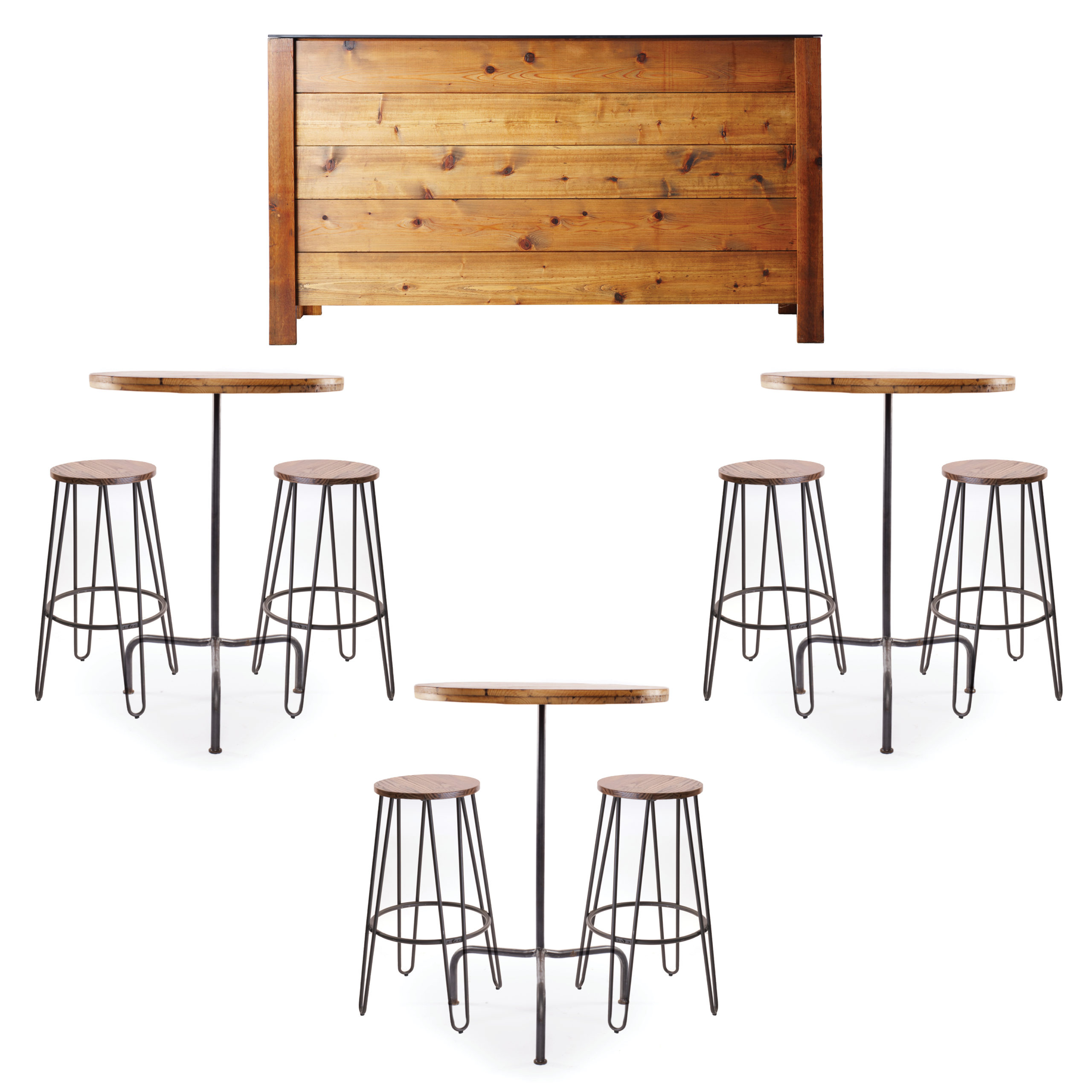 Sip and Seat Bar Collection Rental | A La Crate Rentals Madison, WI | Handbuilt cedar shiplap bar, wood hairpin stools and barn wood cocktail tables