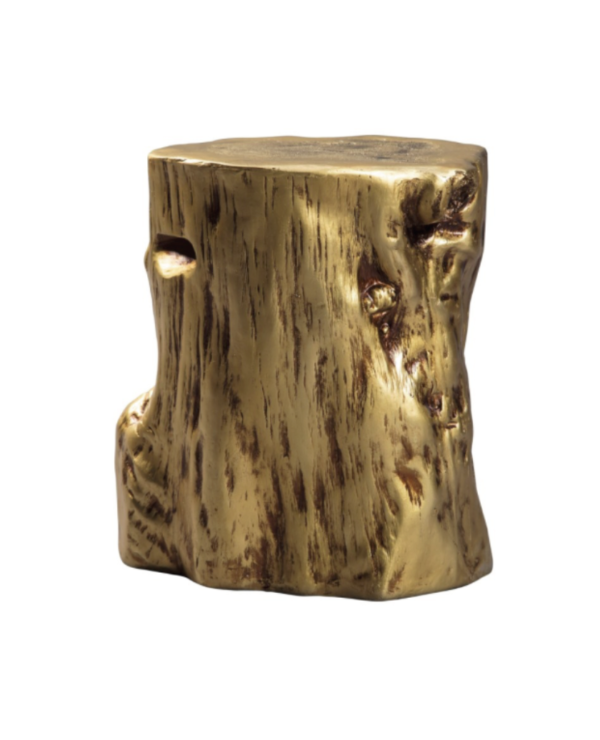 Gold Side Accent Table Stump Ceramic
