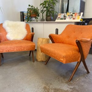 mcm vintage orange tangerine clementine wood side chairs rentals madison wi