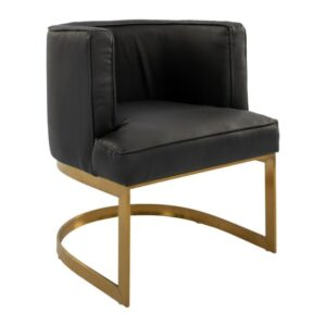 Glam black and gold brass leather chair rental
