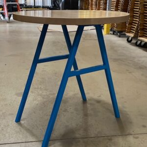 Cafe table with blue legs